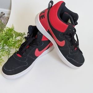 (Nike) Court Borough Mid Black Red High Tops